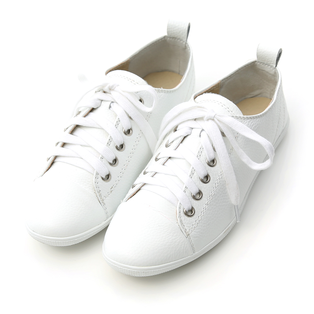 D+AF 人氣定番‧真牛皮綁帶休閒小白鞋*白