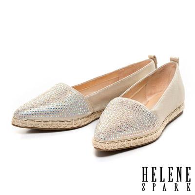 HELENE-SPARK-晶鑽尖頭羊皮草編休閒鞋-金