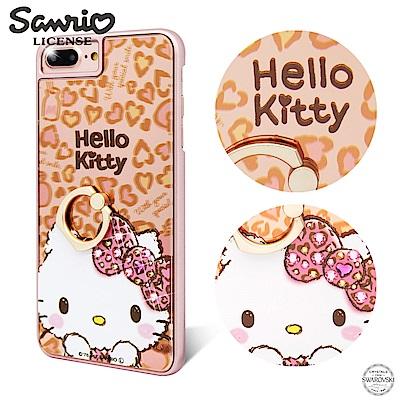 三麗鷗 Kitty iPhone8/7/6s Plus 鏡面指環扣水晶手機殼-豹紋凱蒂