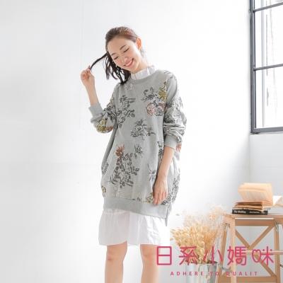 日系小媽咪孕婦裝-韓製孕婦裝-三角羅紋滾邊水墨花上衣-共三色