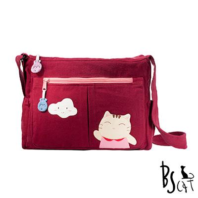 ABS貝斯貓 可愛貓咪拼布 肩背包 斜揹包 (暗紅) 88-210