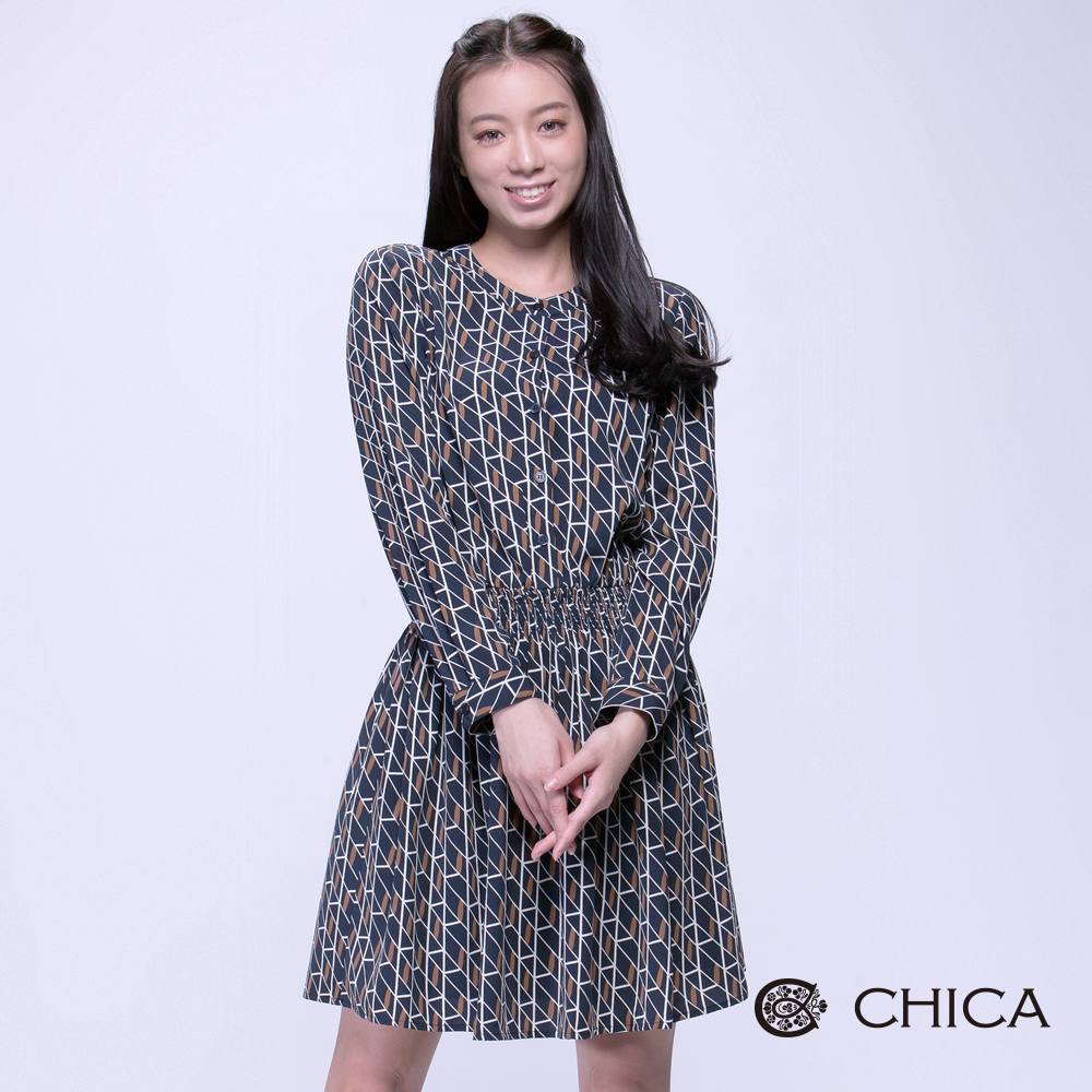 CHICA 復刻回憶重複交疊幾何設計洋裝(2色)