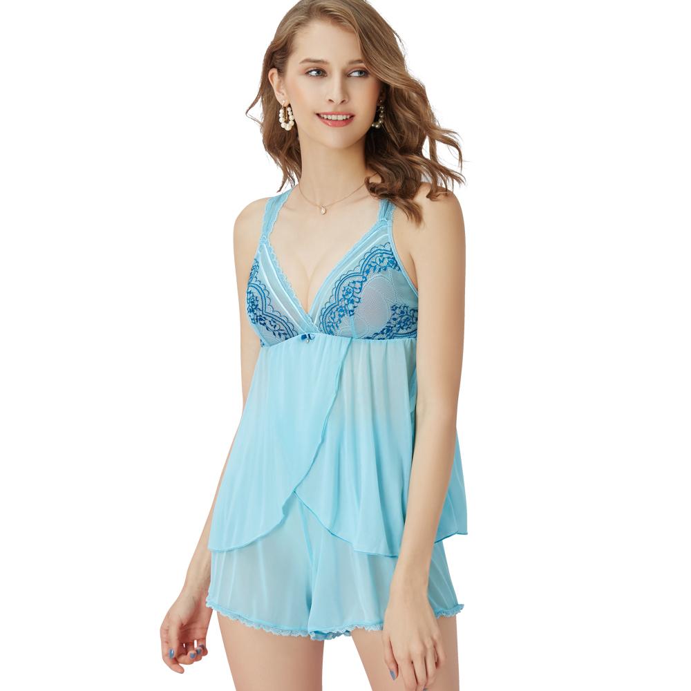 思薇爾 啵時尚花心思系列蕾絲性感衣褲二件式小夜衣(礦水藍)