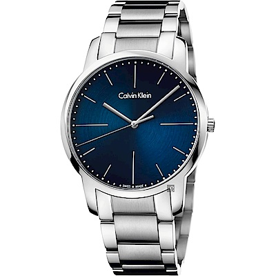 Calvin Klein CK City 極簡都會手錶-藍x銀/43mm