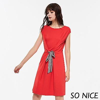 SO NICE夏季造型綁結羅馬布洋裝