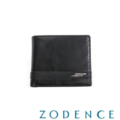ZODENCE MAN 義大利牛皮系列編織線條三折短夾 黑
