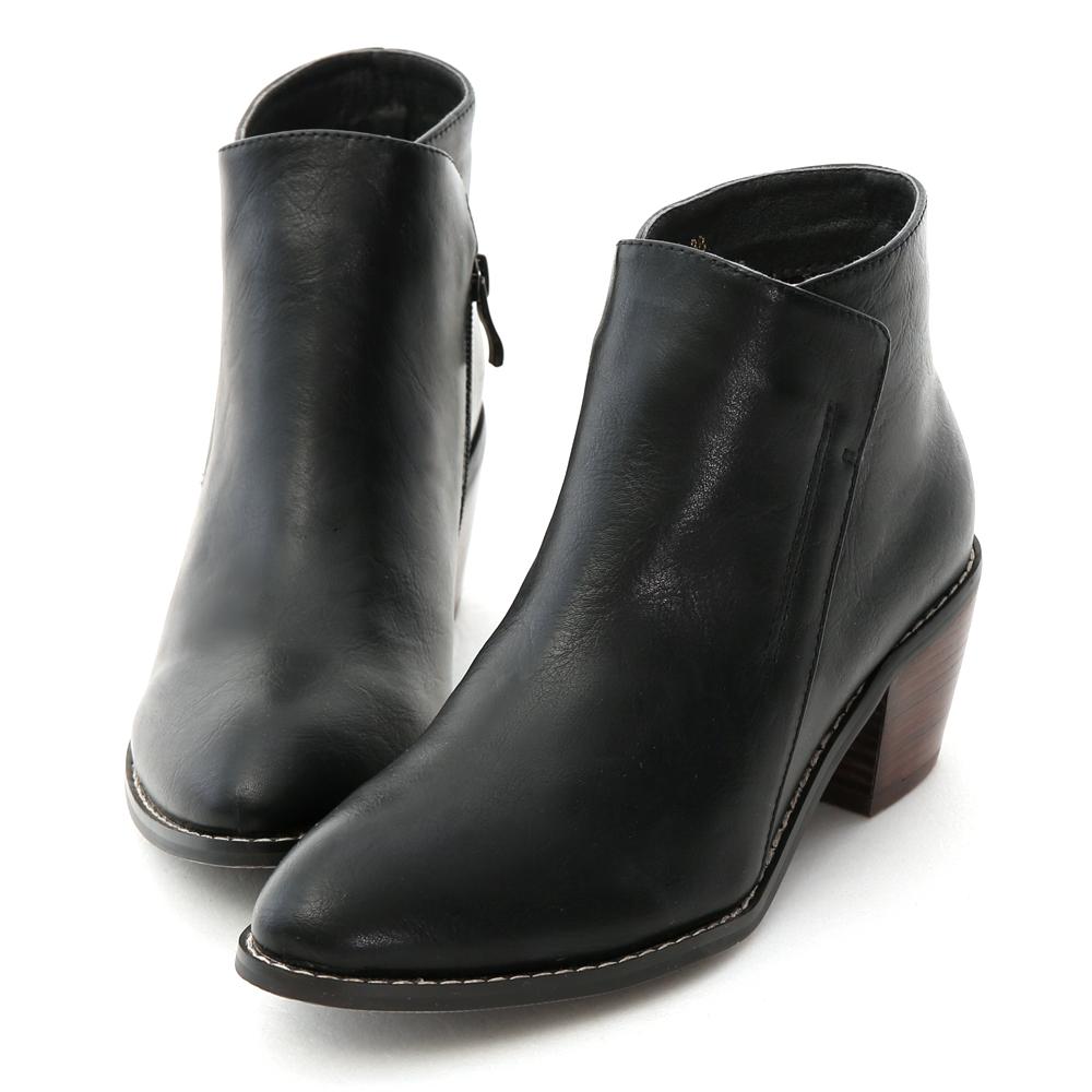 D+AF 美型登場.簡約斜式剪裁中跟短靴*黑