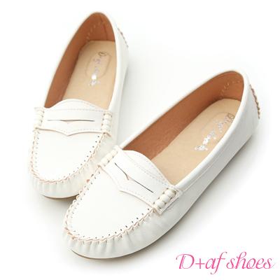 D+AF 悠活主張‧MIT舒適莫卡辛豆豆鞋*白
