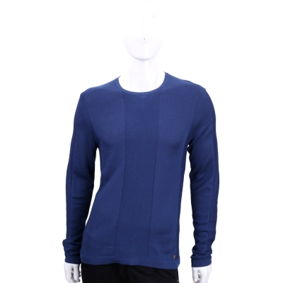 VERSACE 藍色織紋拼接長袖上衣