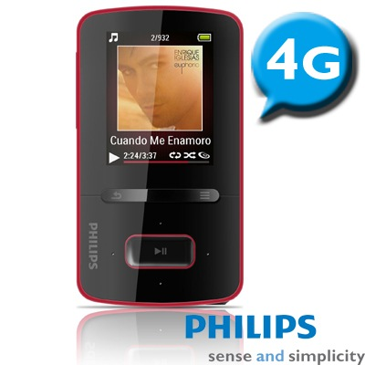 PHILIPS 飛利浦 GoGear ViBE 1.8吋 MP4 4GB 華麗紅