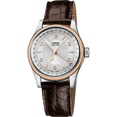 Oris Big Crown Original 指針式日期機械腕錶-銀x玫瑰金框/40mm