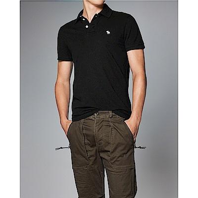 A&F 經典刺繡麋鹿短袖Polo-黑色 AF Abercrombie