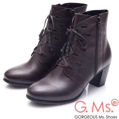 G.Ms. MIT系列-牛皮鏤空綁帶拉鍊高跟短靴-咖啡色