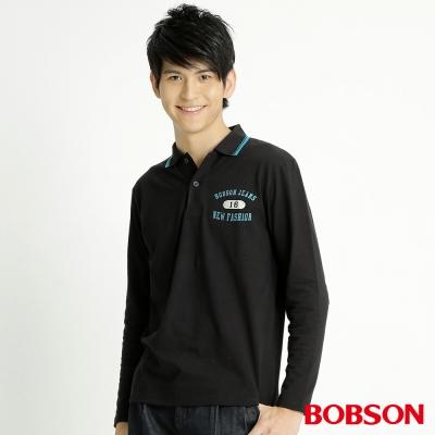 BOBSON 男款印圖POLO長袖上衣(黑88)