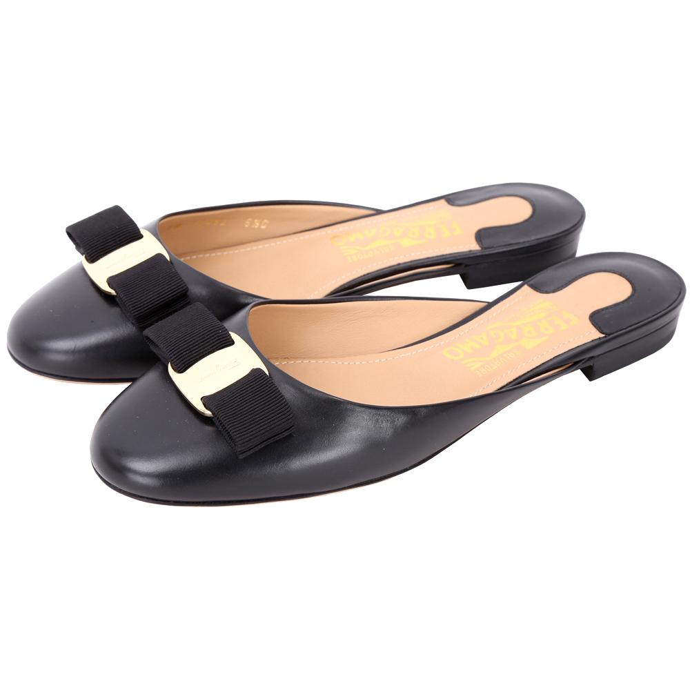 Salvatore Ferragamo EMILE 羅緞蝴蝶結牛皮穆勒鞋(黑色)