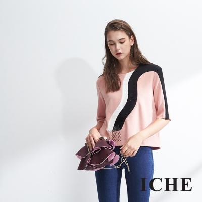 ICHE衣哲 時尚撞色拼接鑲飾九分袖造型上衣-粉 -動態show
