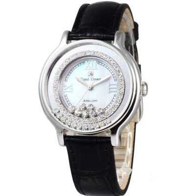 Royal Crown 閃耀亮眼滑動晶鑽腕錶-珠貝白x黑色錶帶/34mm