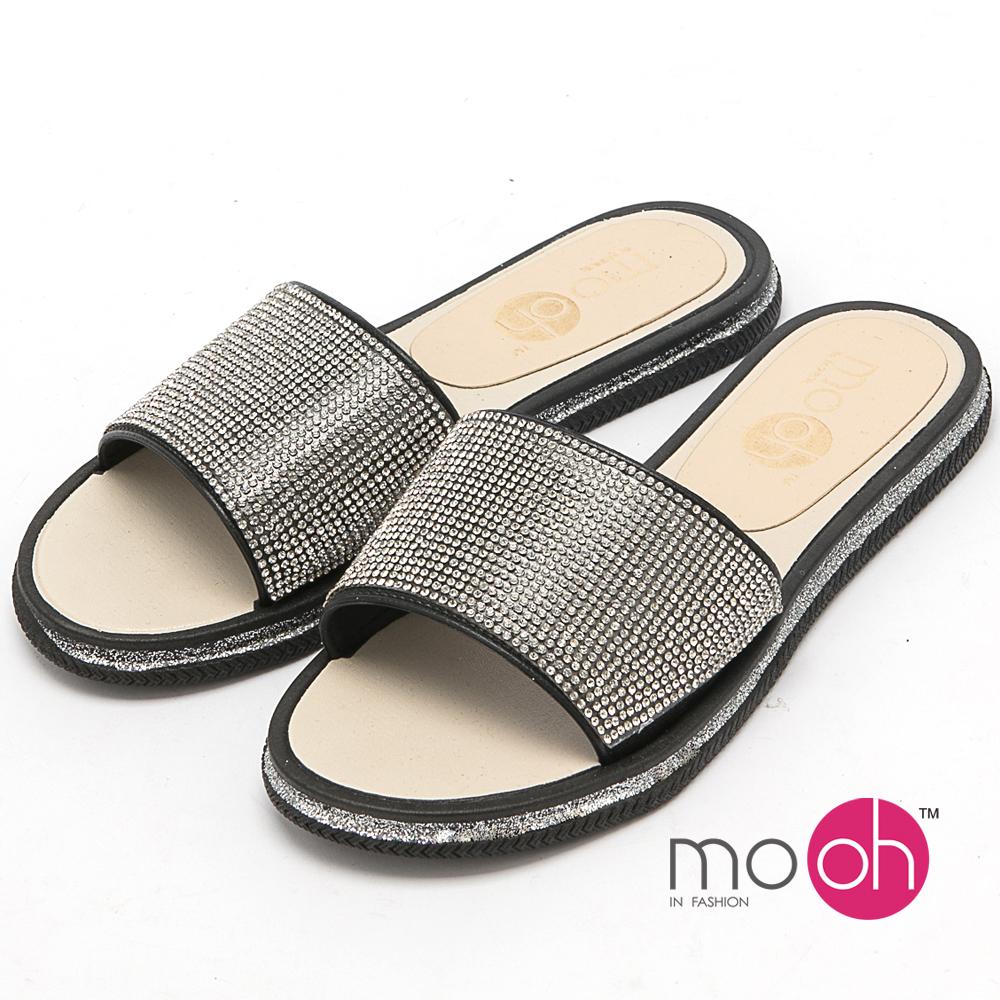mo.oh-一字水鑽防水涼拖鞋-黑色