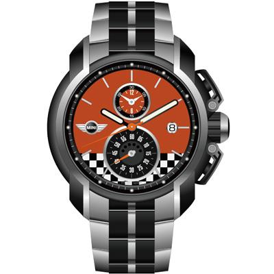 MINI Swiss Watches 賽車旗幟計時腕錶-橘/45mm