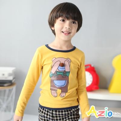 Azio Kids 童裝-上衣 動物立體鼻子滾邊長袖T恤(黃)