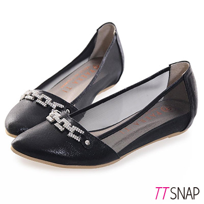 TTSNAP內增高-MIT方釦排鑽尖頭透膚網紗平底鞋 黑