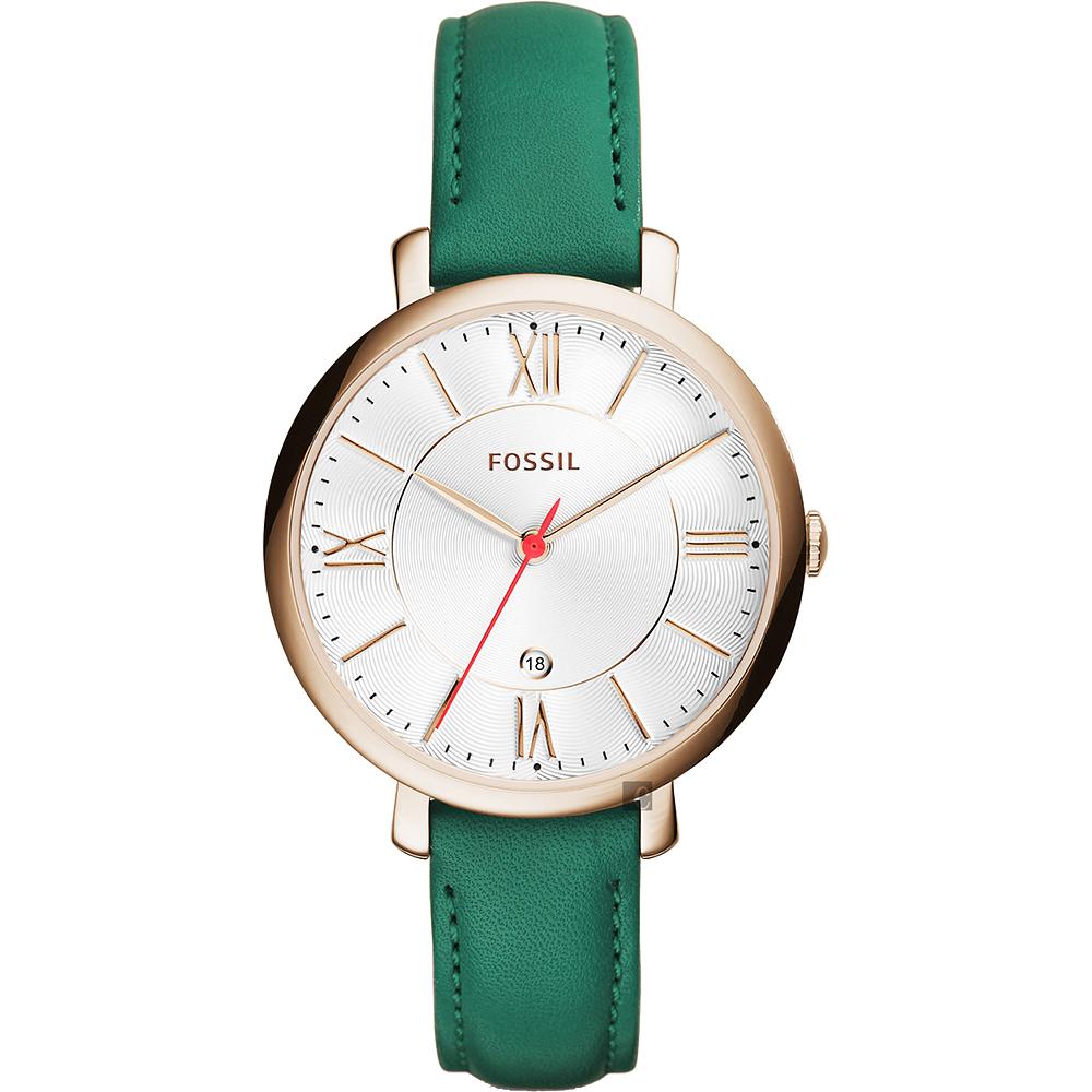 FOSSIL Jacqueline 羅馬時尚女錶(ES4149)-白x青草綠/36mm