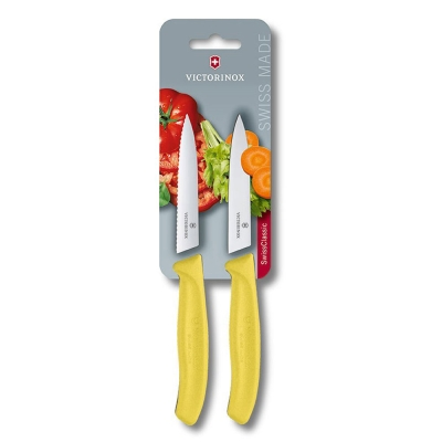 VICTORINOX瑞士維氏 水果刀(兩件裝)-黃
