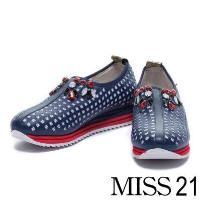 休閒鞋 MISS 21 撞色時尚異材質拼接休閒鞋-藍