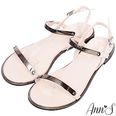 Ann'S韓妞日常-極簡軟金屬寬版平底涼鞋-銀灰
