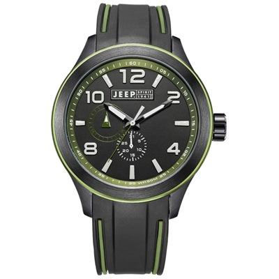 Jeep Spirit 炫彩系列運動錶-黑/綠-46mm