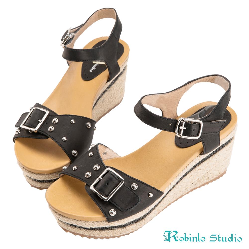 Robinlo Studio 田園麻繩全真牛皮波跟涼鞋 黑色