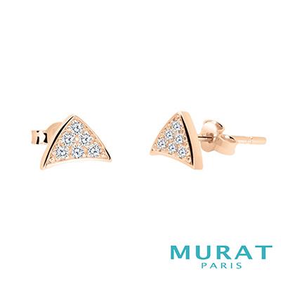 MURAT Paris米哈巴黎 時尚滿鑽三角耳環(玫瑰金)