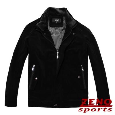ZENO-極致手感經編絨保暖外套-黑色M-L