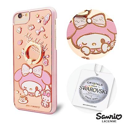 三麗鷗  iPhone8/7/6s 4.7吋施華彩鑽鏡面指環扣手機殼-午茶美樂蒂