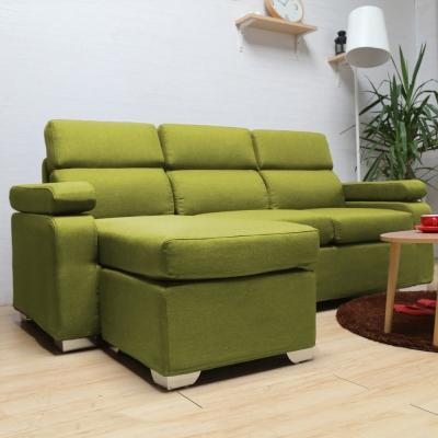 H&D Gorden 高登日式高背三人座加凳沙發 綠色