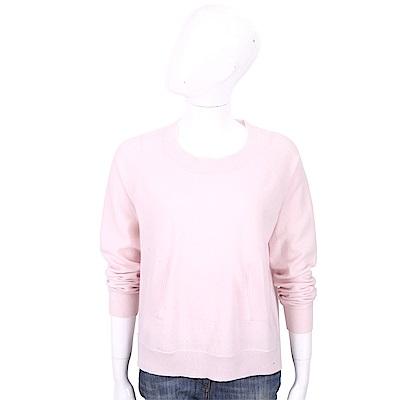 ALLUDE 喀什米爾坑條口袋細節粉色針織羊毛衫