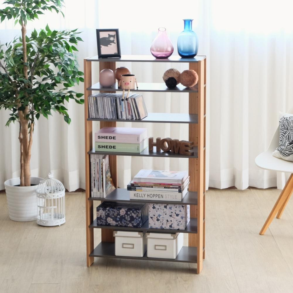 EASY HOME-加寬六層美背開放式收納架(灰+木紋-62.8x25.4x120-DIY