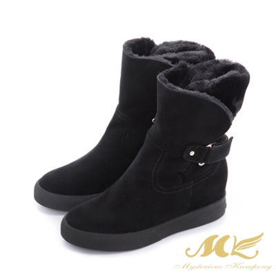 MK-全真皮-刷毛蒙古內增高厚底雪靴-黑色