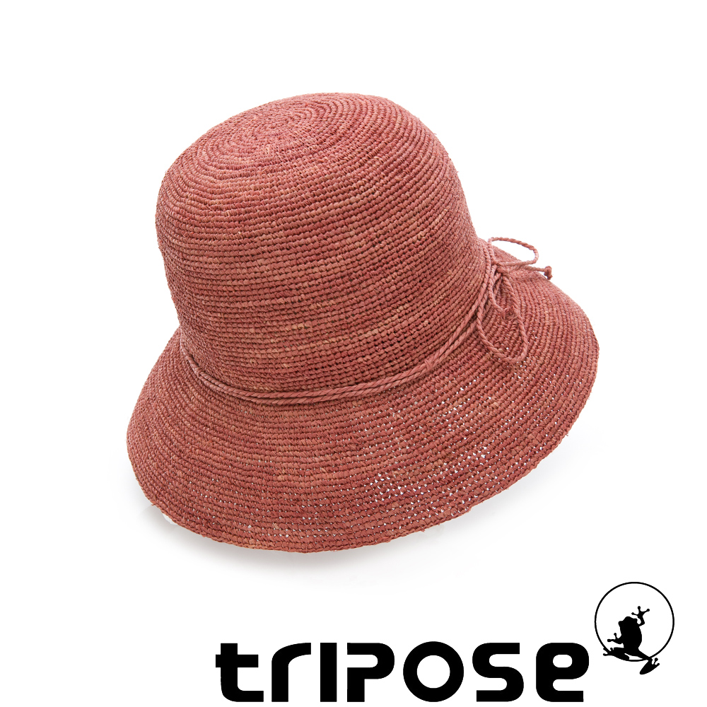 tripose 經典優雅-100%手工Raffia時尚遮陽草帽-帽簷-8cm(紅色)