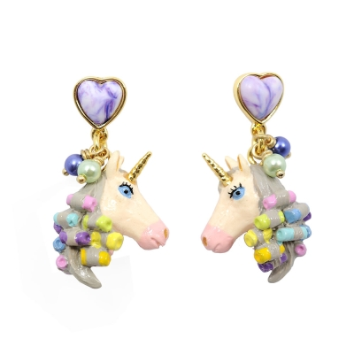 Les Nereides N2  神話獨角獸系列 艷麗獨角獸七彩捲髮 紫色愛心寶石耳環