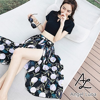 【AngelLuna日本泳裝】 蒲公英後扭結開叉罩衫裙三件式泳衣