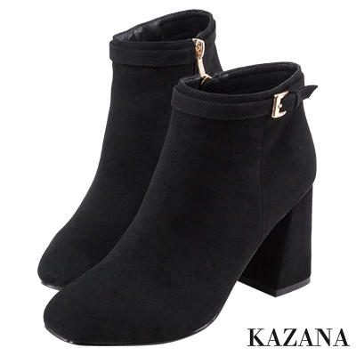 KAZANA-絨布微方頭細條帶釦短靴 黑