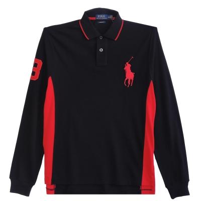 Ralph Lauren 大馬3號滾邊線長袖POLO男衫(黑紅)