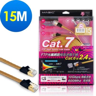 MAGIC Cat.7 FTP光纖網路極高速扁平網路線(專利折不斷接頭)-15M