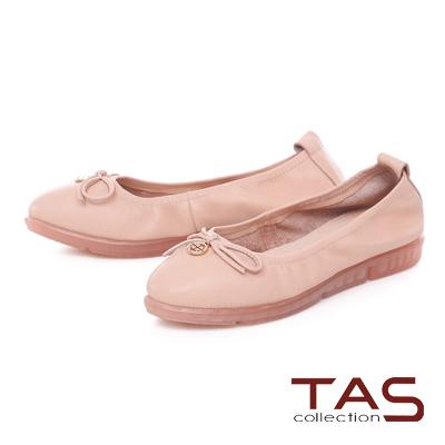 TAS 金屬圓飾蝴蝶結牛皮娃娃鞋-甜美粉