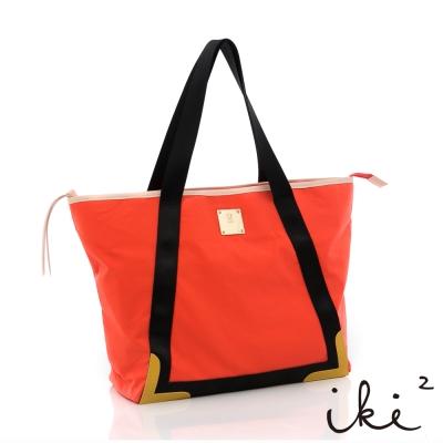 iki2流行包-輕盈系列滾邊多彩休閒托特包-亮眼橘