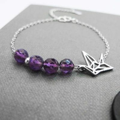 Hera925純銀手作飛翔鴿子天然紫水晶手鍊