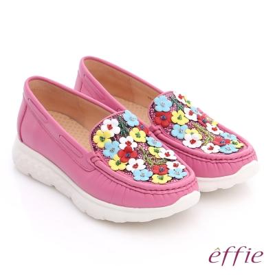 effie輕量抗震 全真牛皮蕾絲花布平底鞋 桃粉紅