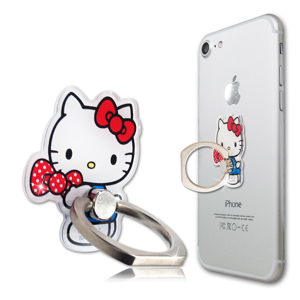 三麗鷗授權 Hello Kitty 凱蒂貓手機防摔造型指環扣 手機支架(蝴蝶結)