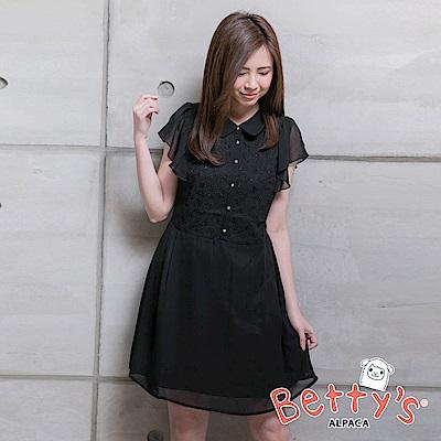 betty's貝蒂思 簡約優雅雪紡洋裝(黑色)